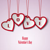 Valentine card with hanging hearts template