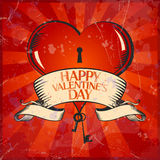 Valentine card with heart. Retro Valentine card with heart. Eps10 Stock Photo