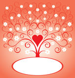 Valentine card with heart and blooming tree. Valentine card with love tree and heart stock illustration