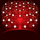 Valentine card with heart and blooming tree. Valentine card with love tree and heart Royalty Free Stock Images