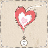 Valentine card with heart and engagement ring Royalty Free Stock Image
