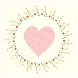 Valentine card with heart and floral frame Royalty Free Stock Image
