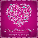 Valentine card with heart of flowers and wishes text Stock Image