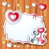 Valentine card with heart and lovely cats Stock Photo