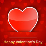 Valentine card with a heart placed on red background. Vector illustration Royalty Free Stock Photo