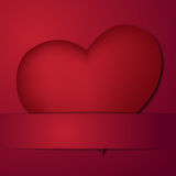 Valentine card with a heart. Placed on red background Stock Photos