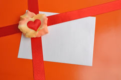 Valentine card, heart, ribbon Royalty Free Stock Images