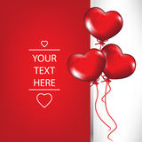 Valentine card with heart shaped balloons Stock Photos