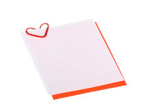 Valentine card with heart-shaped clip; copyspace Stock Photos