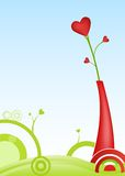 Valentine card with a heart shaped flower. In a vase on abstract background Stock Photo