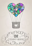 Valentine card with a heart-shaped hot air balloon and a love slogan Stock Image