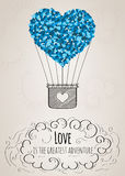 Valentine card with a heart-shaped hot air balloon and a love slogan Royalty Free Stock Photos
