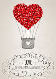 Valentine card with a heart-shaped hot air balloon and a love slogan. In Stock Photography