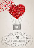 Valentine card with a heart-shaped hot air balloon and a love slogan. Valentine card with a heart-shaped hot air balloon falling apart into small hearts and a Stock Photography