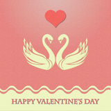 Valentine card with heart and swans Stock Photo