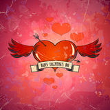 Valentine card with heart and wings. Stock Photography