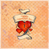 Valentine card with hearts. Retro Valentine card with hearts. Eps10 royalty free illustration