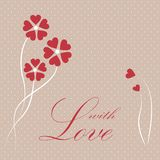Valentine card with hearts. Vector valentine card with hearts and flowers Stock Photo