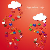 Valentine card with hearts Royalty Free Stock Image
