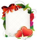 Valentine card with hearts and flowers Stock Image