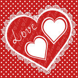 Valentine card with hearts frames Royalty Free Stock Photography