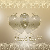Valentine card with hearts Stock Image