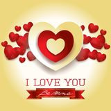 Valentine card with hearts and message, in yellow. Vector illustration eps10 Royalty Free Stock Photos