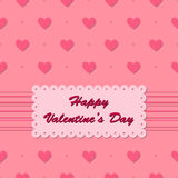 Valentine card with hearts on pink background Royalty Free Stock Images