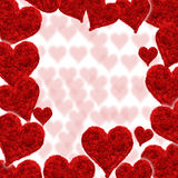 Valentine card, hearts red. Background Stock Image