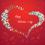 Valentine card with hearts on a red background.  Stock Photo