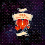 Valentine card with hearts. Stock Photography