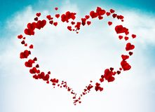Valentine card with hearts in the sky. Valentine card background with hearts in the sky Stock Image