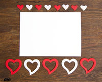 Valentine card with hearts. On wood Royalty Free Stock Photography