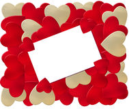 Valentine Card Holder. Illustration of red and white heart shapes surrounding a blank white card. Just add your own message vector illustration