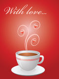 Valentine card with hot cup of coffee Stock Photography