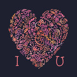 Valentine card I love You template with creative. Valentine card template  creative doodle watercolor heart on the dark background Stock Photos