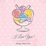 Valentine card with  ice cream and wishes text. Vector Stock Photography