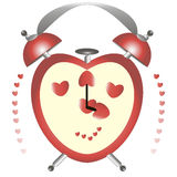 Valentine card. This is the illustration of valentine card with a  alarm in the form of heart Royalty Free Stock Images