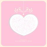 Valentine card. Illustration of pink valentine card Royalty Free Stock Photo