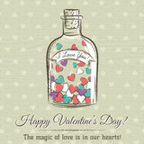 Valentine card with jar filled with hearts and wishes text Royalty Free Stock Photography