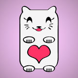 Valentine card with kitty. Valentine card with cute kitty Royalty Free Stock Images