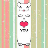Valentine card with kitty. Valentine card with cute kitty Stock Photos