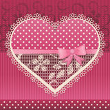 Valentine card with lace heart Royalty Free Stock Photos