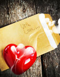 Valentine Card with Letter and Aromatic Candle Stock Image
