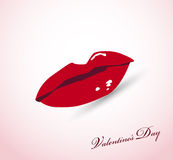 Valentine card with lips Royalty Free Stock Image