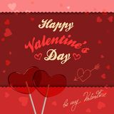 Valentine card with lollipops heart-shaped Royalty Free Stock Images