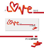 Valentine card love. Valentine card, red paper ribbon folded design Stock Photography