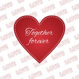 Valentine card love heart 14 february. Greeting illustration Stock Images