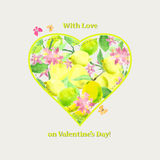 Valentine card with love at Valentine`s Day. Heart with lemons a Royalty Free Stock Photo