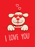 Valentine card lovely dog with sunglasses like heart Royalty Free Stock Images